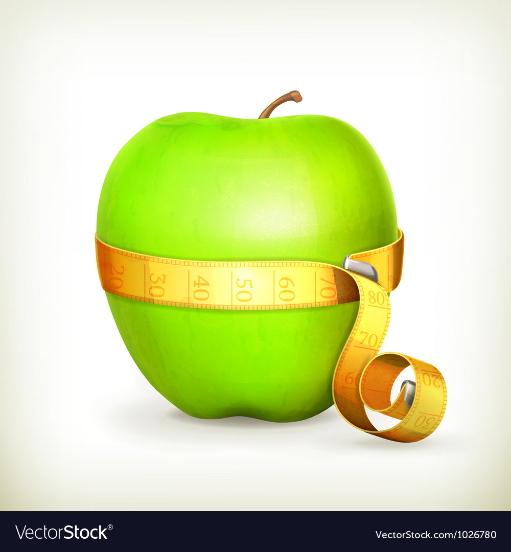 Tape measurement and green apple vector | Price: 1 Credit (USD $1)