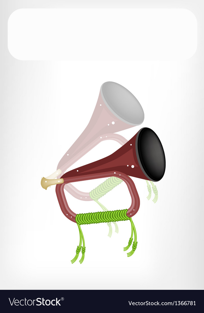 A musical bugle with a white banner vector | Price: 1 Credit (USD $1)