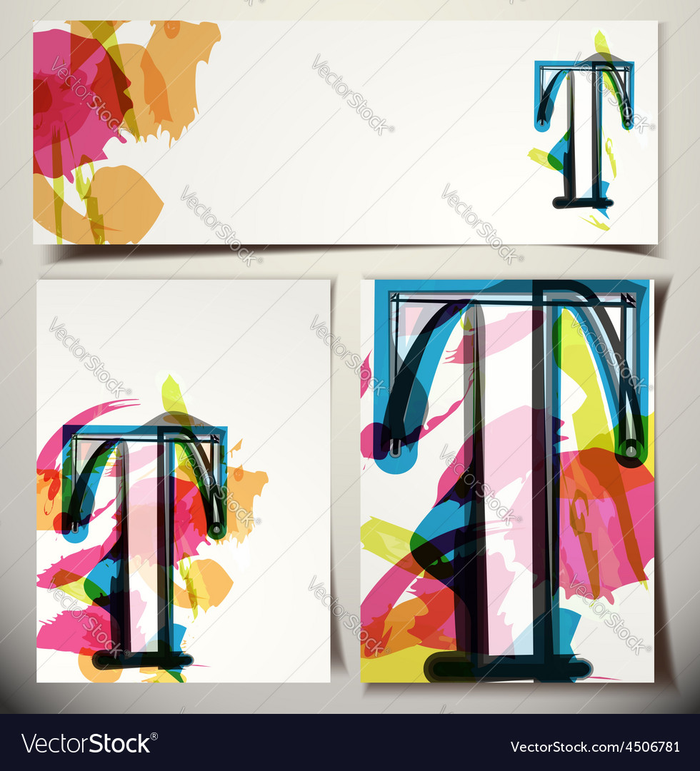 Artistic greeting card letter t vector | Price: 1 Credit (USD $1)