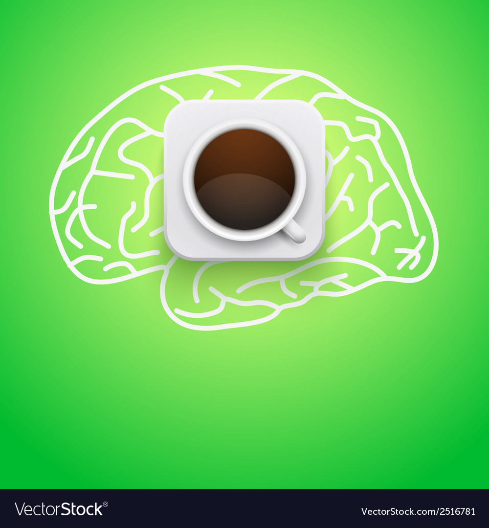 Background of cup coffee and brain vector | Price: 1 Credit (USD $1)