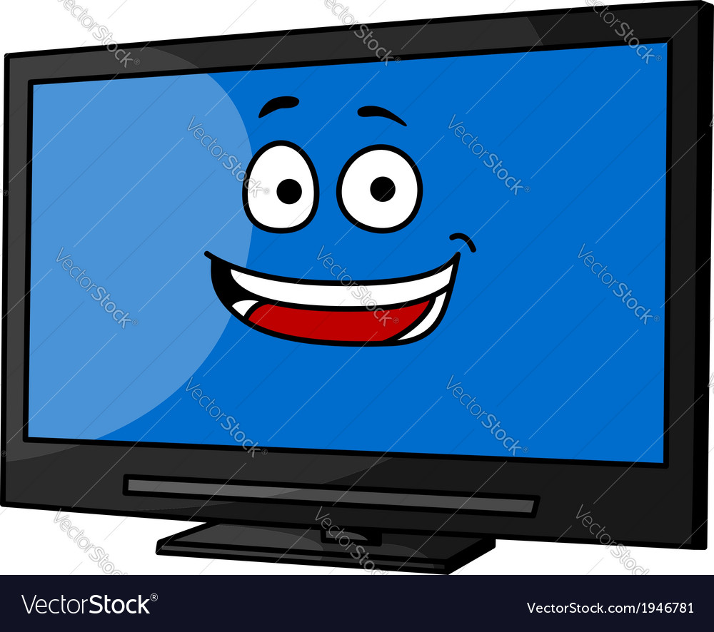 Cheeky smiling cartoon tv or monitor vector | Price: 1 Credit (USD $1)