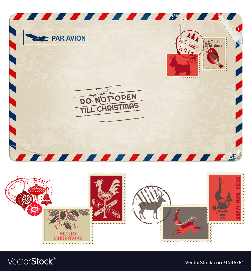 Christmas vintage postcard with postage stamps vector | Price: 3 Credit (USD $3)