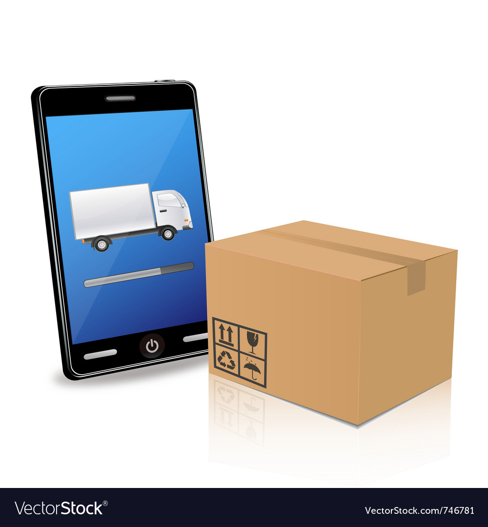 Delivery with smart phone vector | Price: 3 Credit (USD $3)