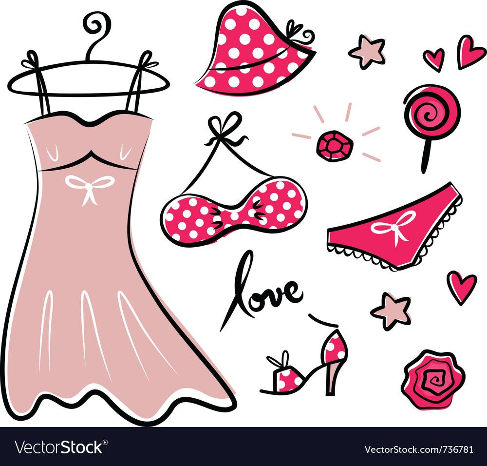 Fashion retro icons and accessories vector | Price: 1 Credit (USD $1)