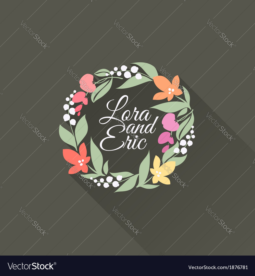 Flat floral wreath with long shadow vector | Price: 1 Credit (USD $1)