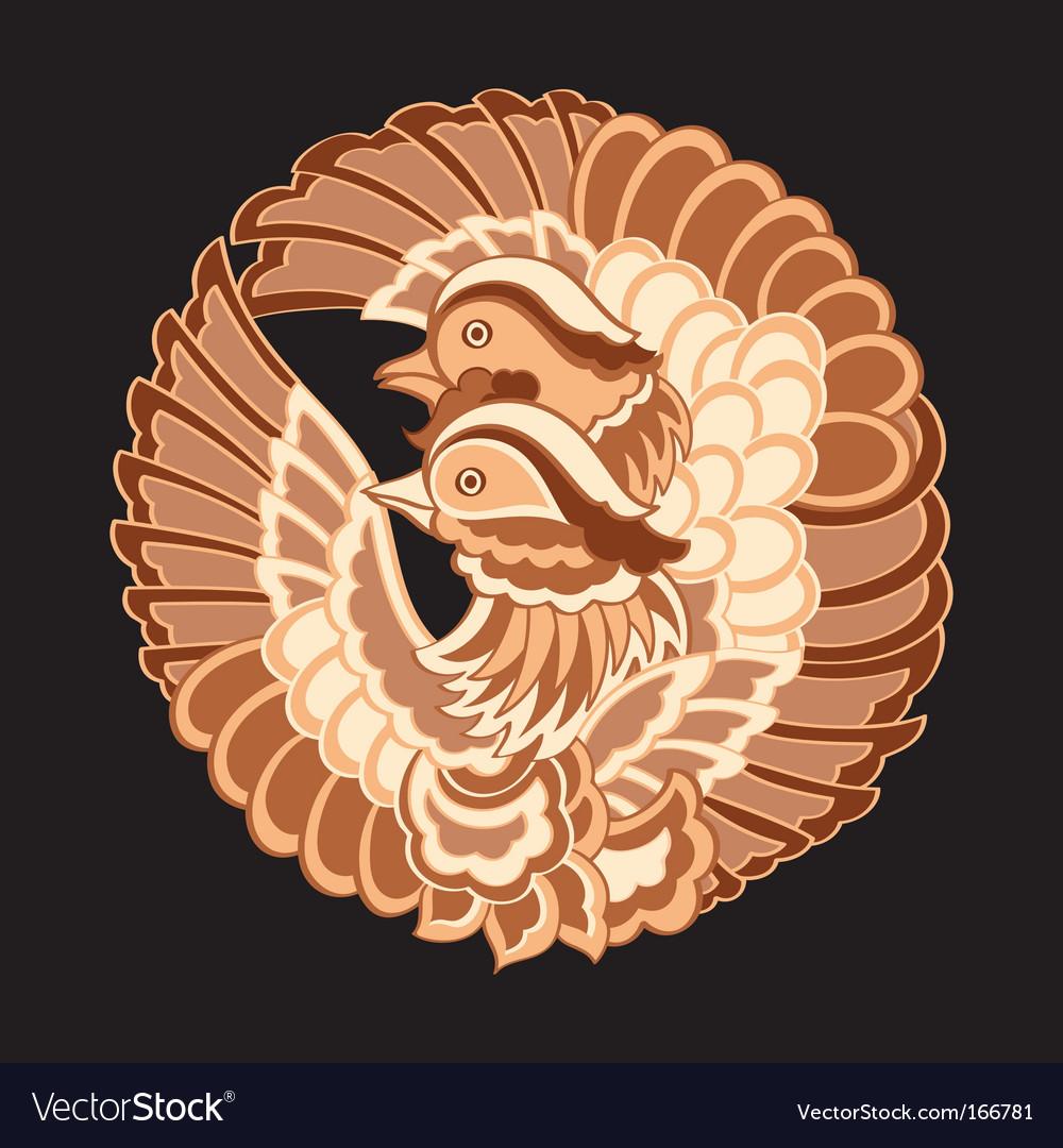 Japanese birds pattern vector