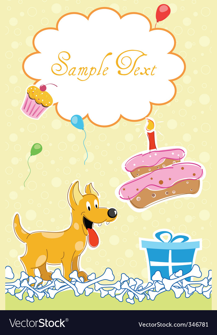 Puppy in birthday card vector | Price: 3 Credit (USD $3)