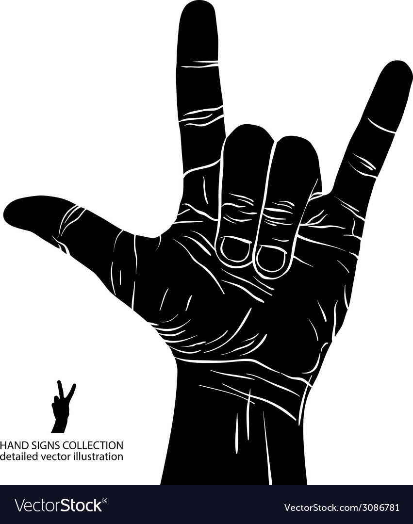 Rock on hand sign rock n roll hard rock heavy vector | Price: 1 Credit (USD $1)