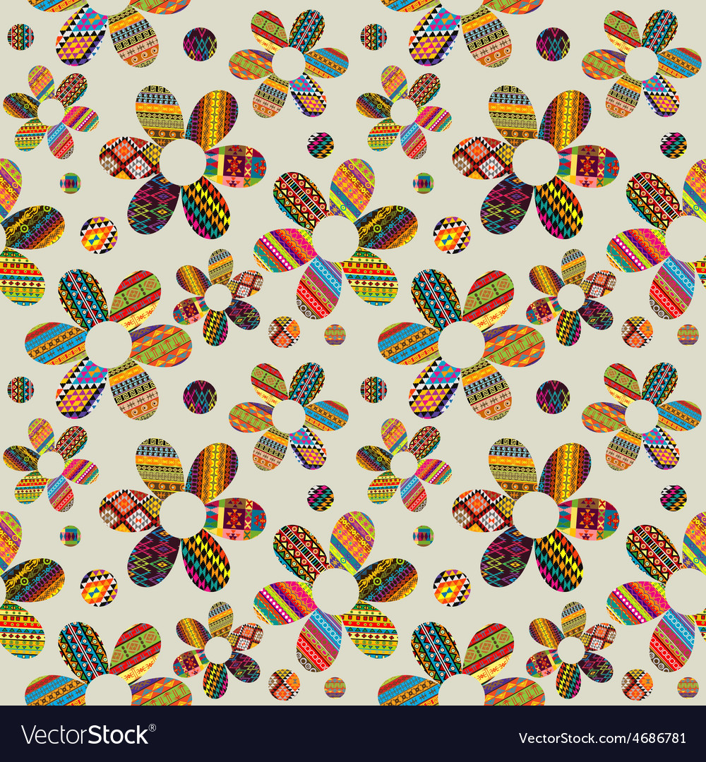 Seamless background with ethnic motifs patterned vector | Price: 1 Credit (USD $1)