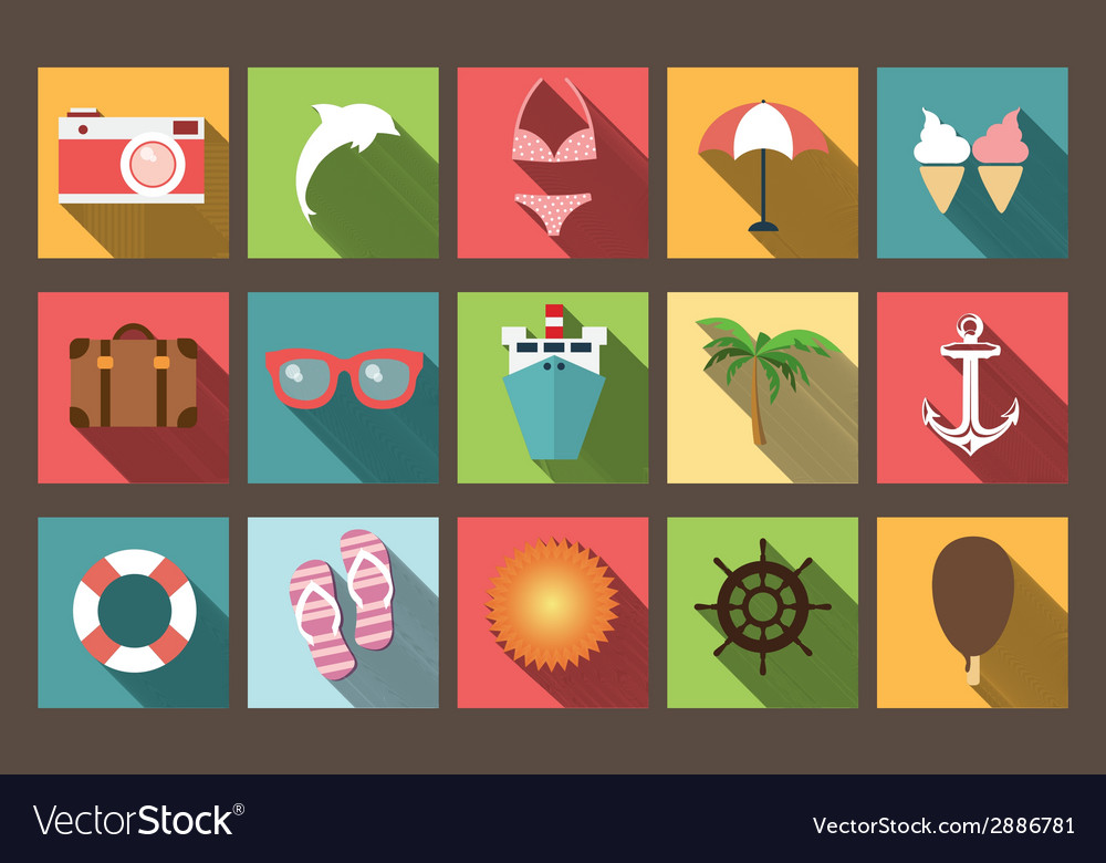 Summer vacation flat icons with long shadow design vector | Price: 1 Credit (USD $1)