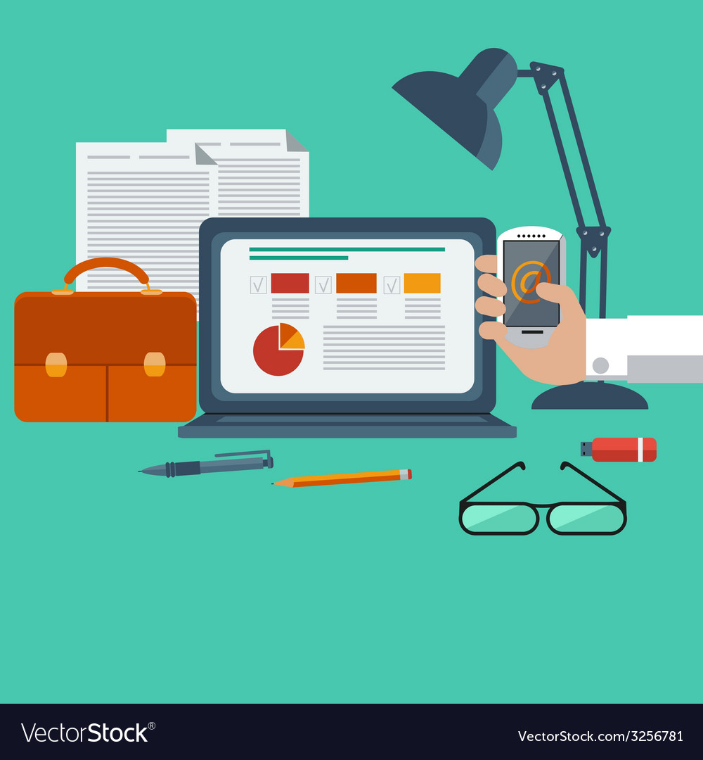 Workplace with laptop smartphone office objects vector | Price: 1 Credit (USD $1)