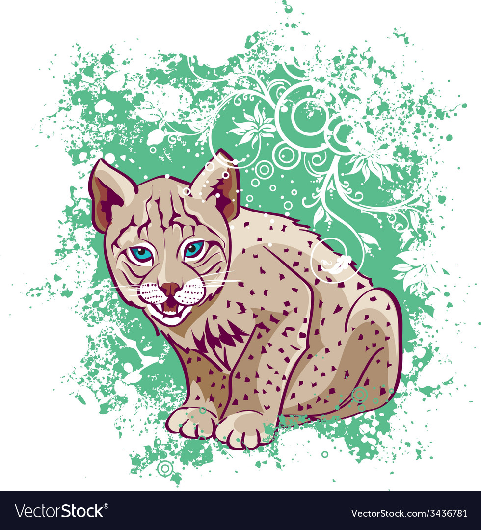 Young lynx on a green background vector | Price: 3 Credit (USD $3)