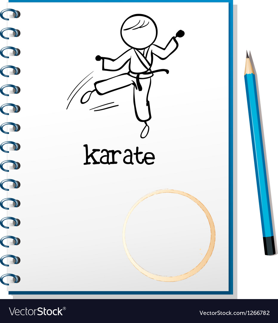 A notebook with a sketch of a karate athlete vector | Price: 1 Credit (USD $1)