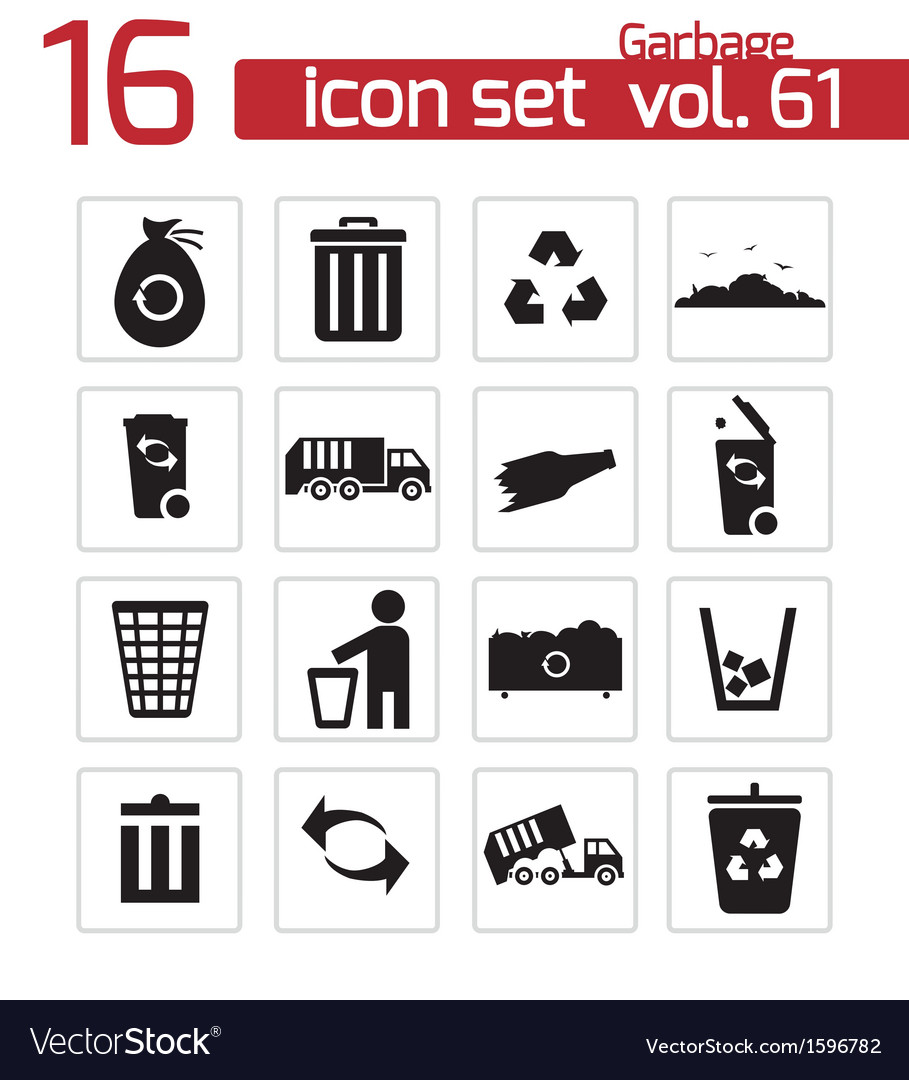 Black garbage icons set vector | Price: 1 Credit (USD $1)