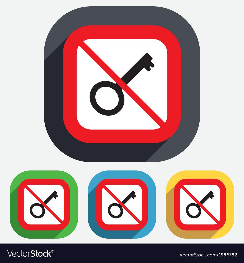 Do not open key sign icon unlock tool symbol vector | Price: 1 Credit (USD $1)
