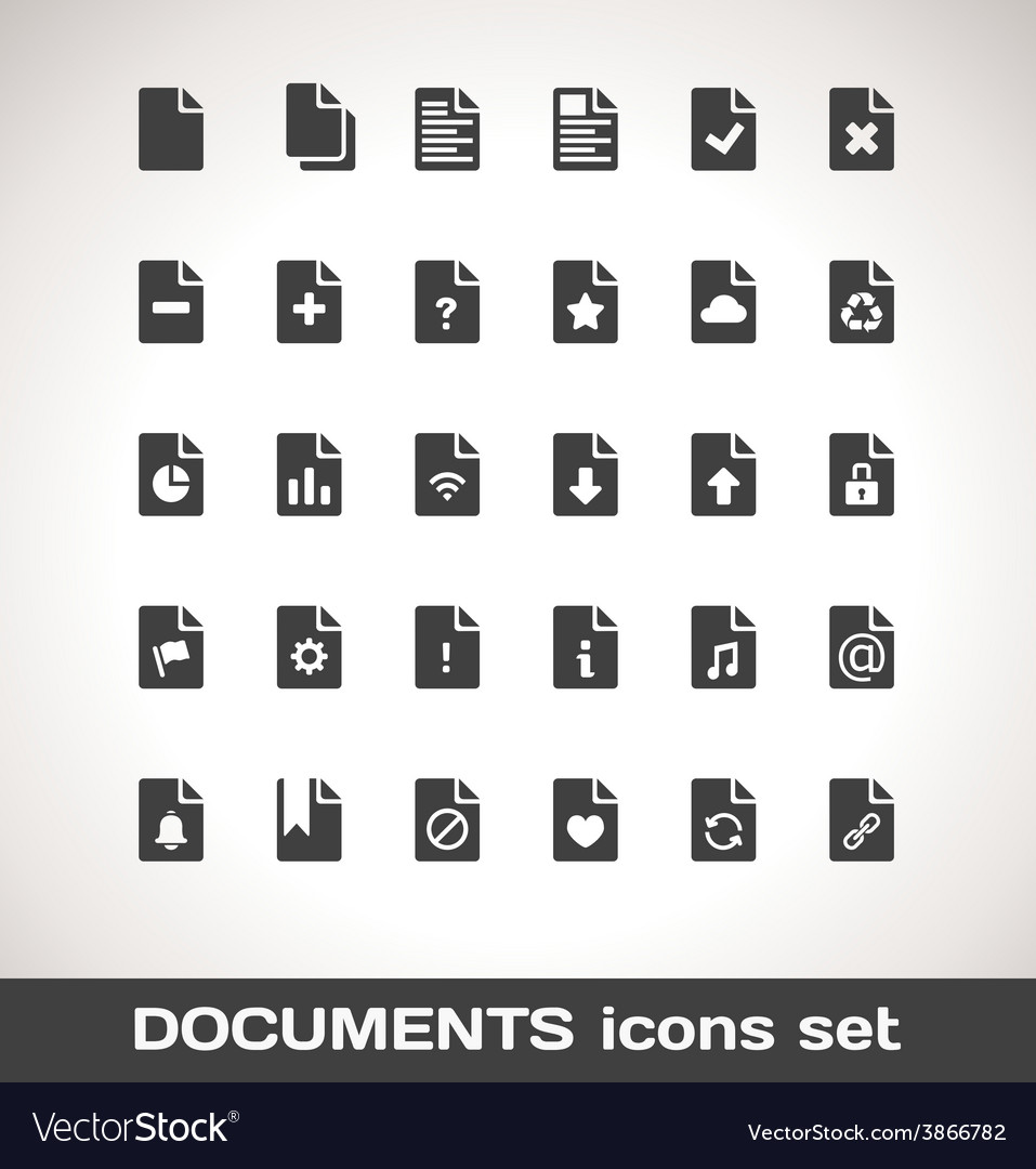 Documents icon set vector | Price: 1 Credit (USD $1)