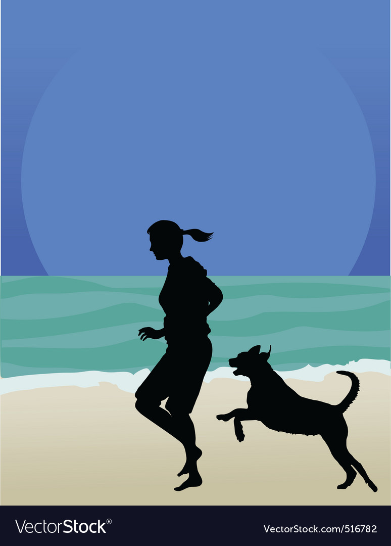 Dog on beach vector | Price: 1 Credit (USD $1)