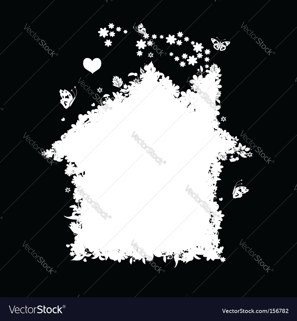 Floral house silhouette vector | Price: 1 Credit (USD $1)