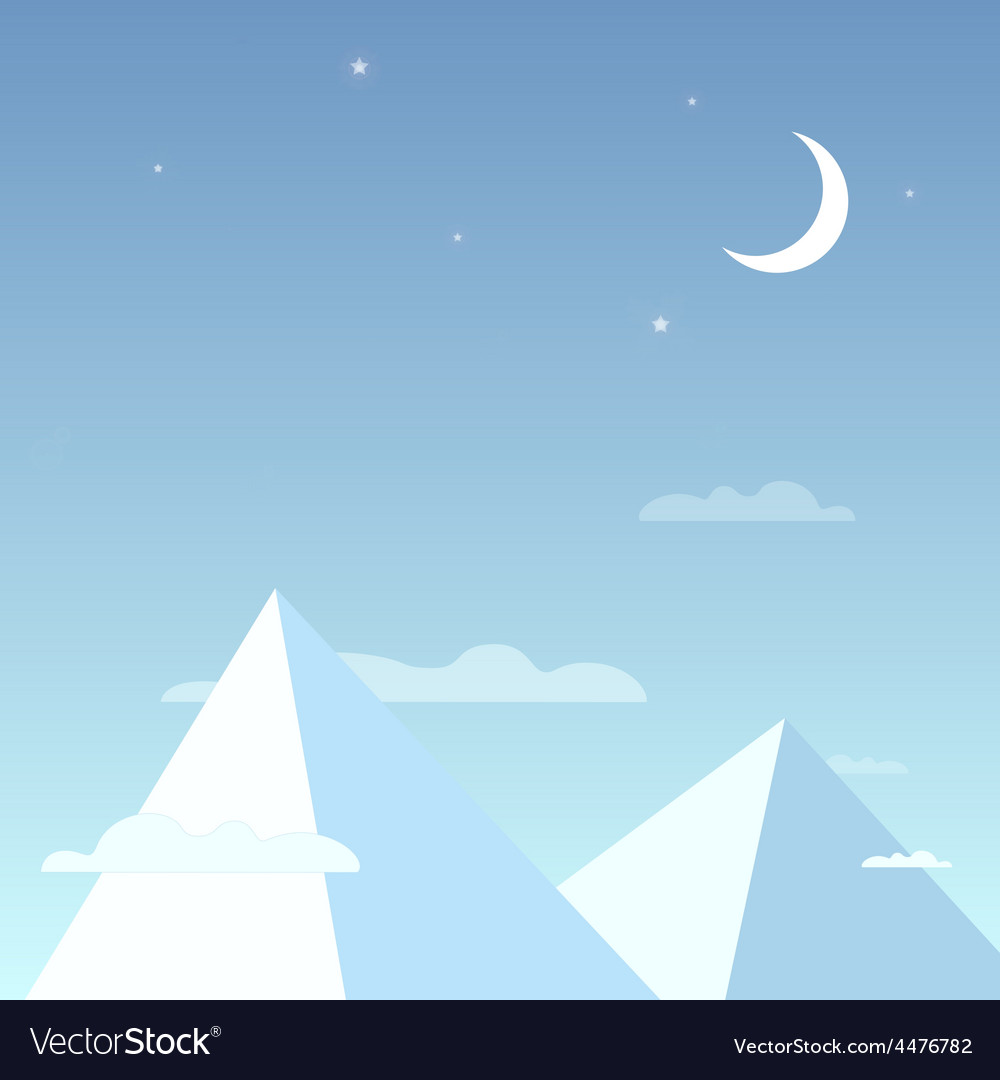 Mountains in the night sky in a simple light vector   Price: 1 Credit (USD $1)