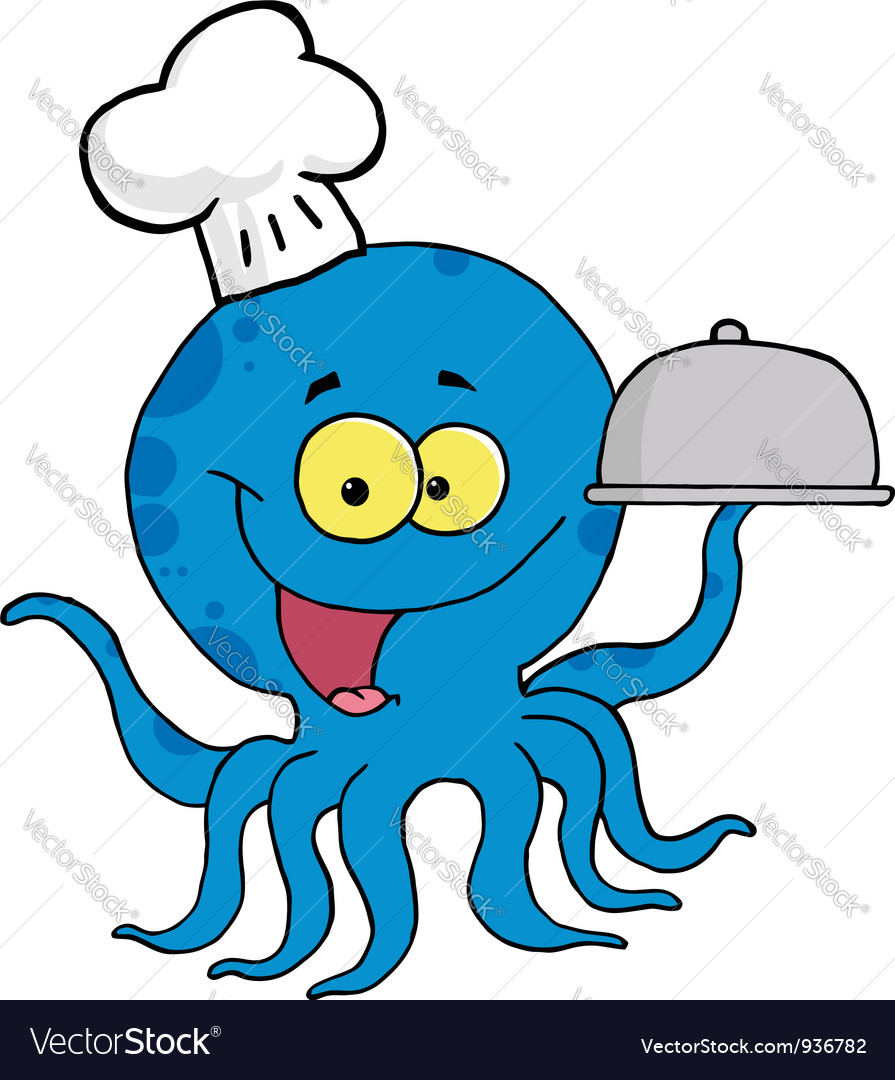 Octopus chef serving food in a sliver platter vector | Price: 1 Credit (USD $1)