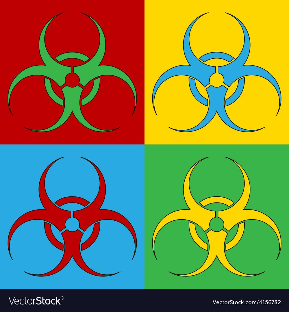 Pop art biohazard sign icons vector | Price: 1 Credit (USD $1)