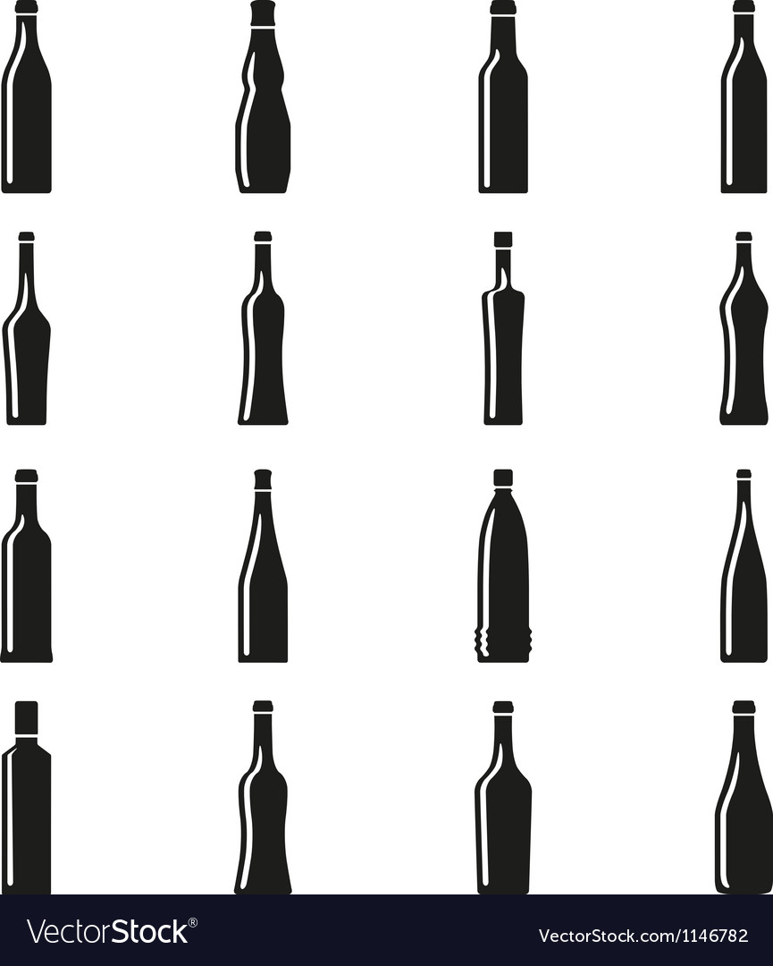 Set of bottles silhouettes vector | Price: 1 Credit (USD $1)