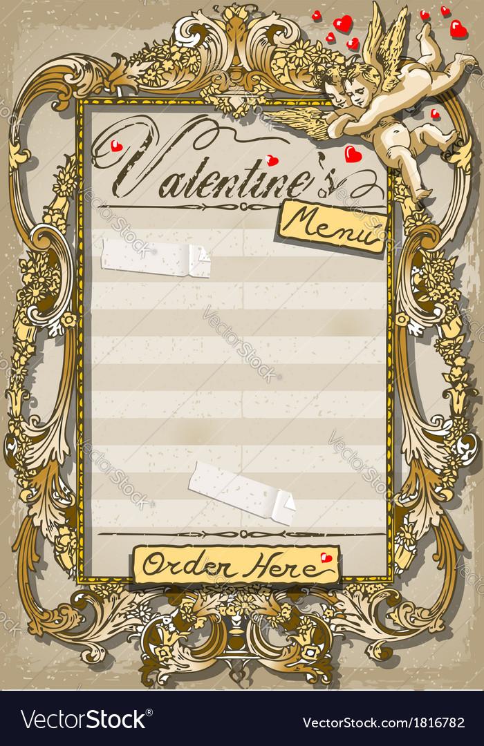 Vintage graphic page for valentine s menu vector | Price: 1 Credit (USD $1)