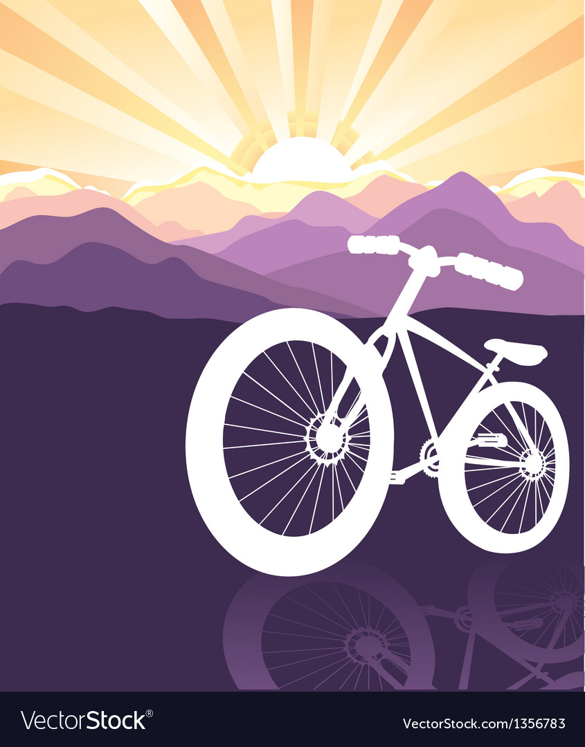 Bike silhouette mountains background vector | Price: 1 Credit (USD $1)