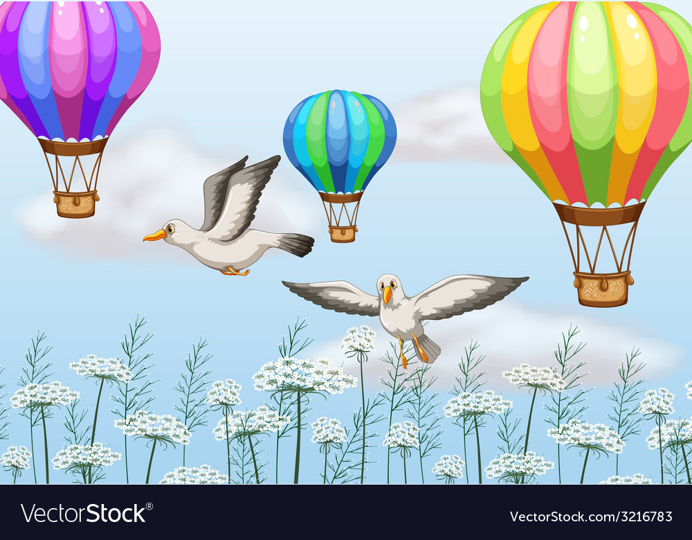 Birds and balloons vector | Price: 1 Credit (USD $1)