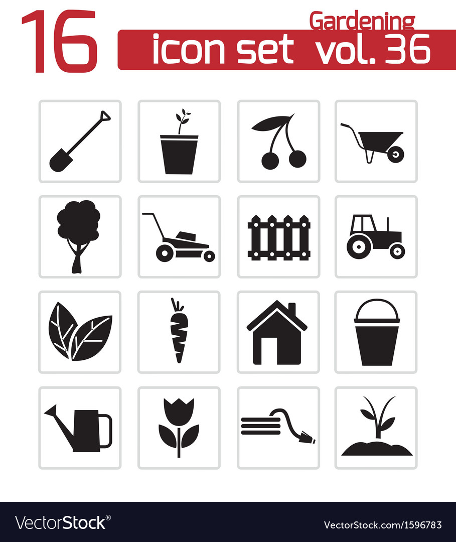 Black gardening icons set vector | Price: 1 Credit (USD $1)