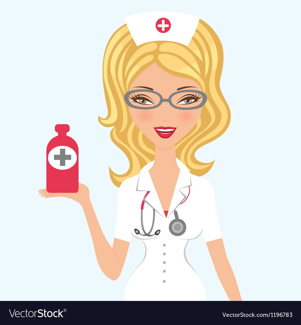 Blond doctor holding medicine vector | Price: 3 Credit (USD $3)