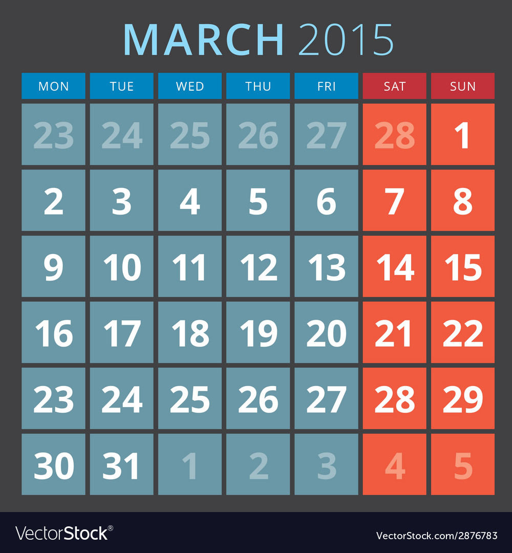 Calendar planner 2015 template week starts monday vector | Price: 1 Credit (USD $1)
