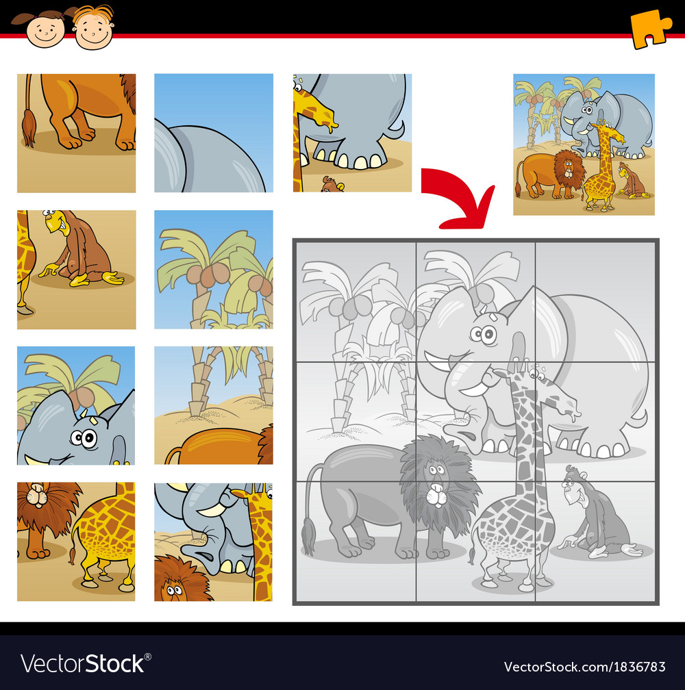 Cartoon wild animals jigsaw puzzle game vector | Price: 1 Credit (USD $1)