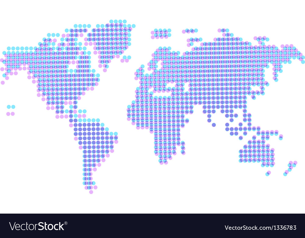 Dotted abstract worldmap with offset vector | Price: 1 Credit (USD $1)