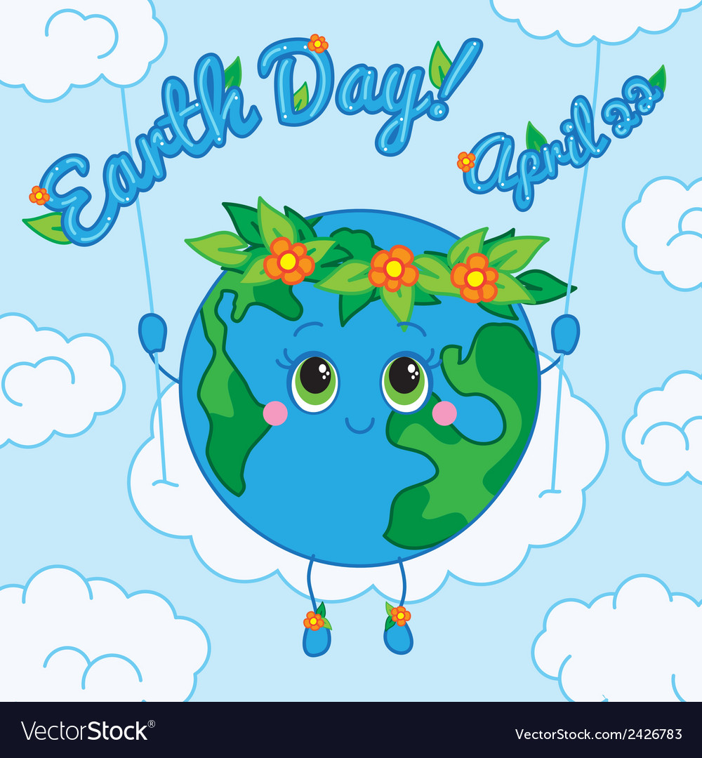 Earth day 22 april greeting card vector | Price: 1 Credit (USD $1)