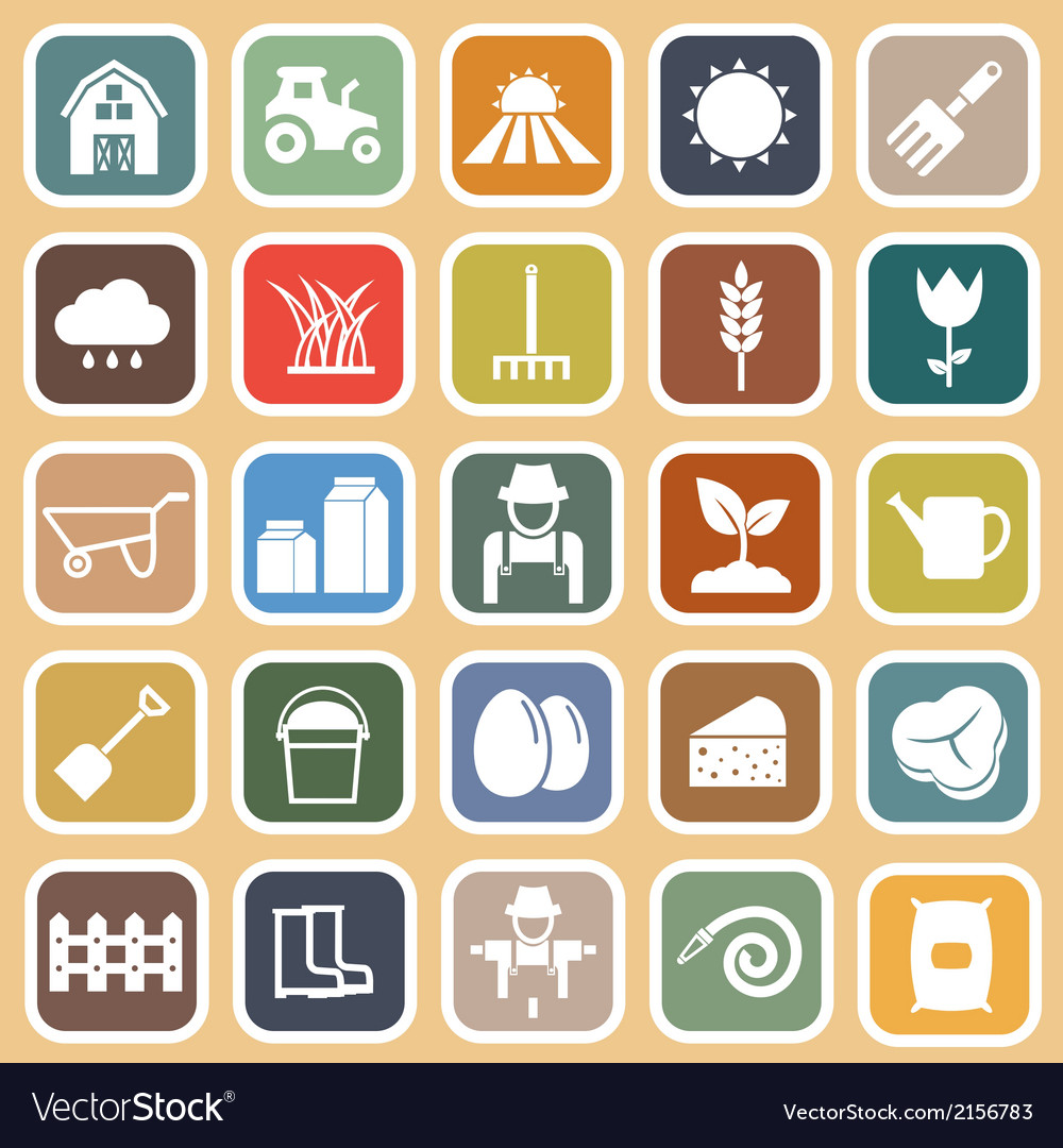 Farming flat icons on brown background vector | Price: 1 Credit (USD $1)