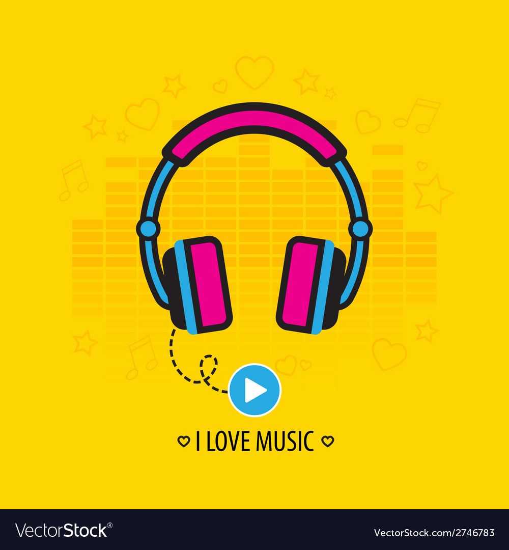Flat headphones vector | Price: 1 Credit (USD $1)