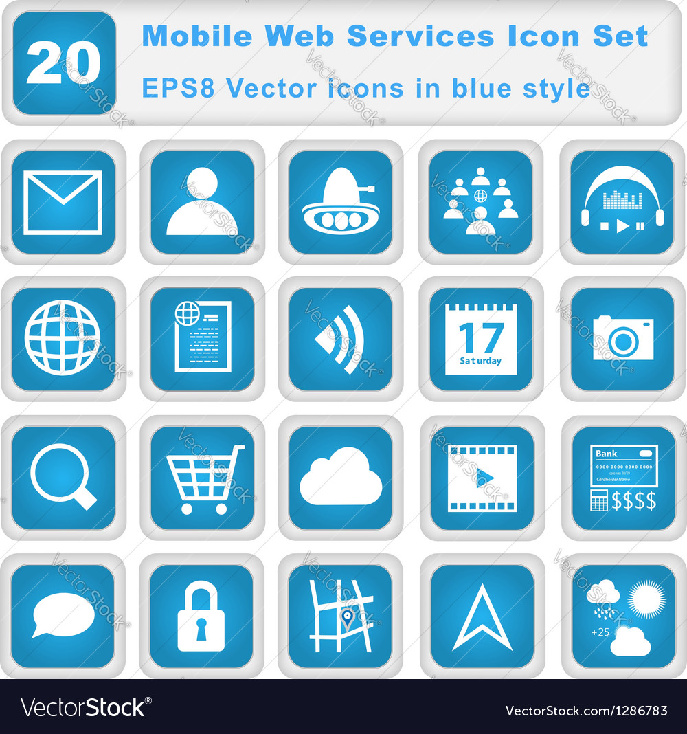 Mobile web services icon set vector | Price: 1 Credit (USD $1)