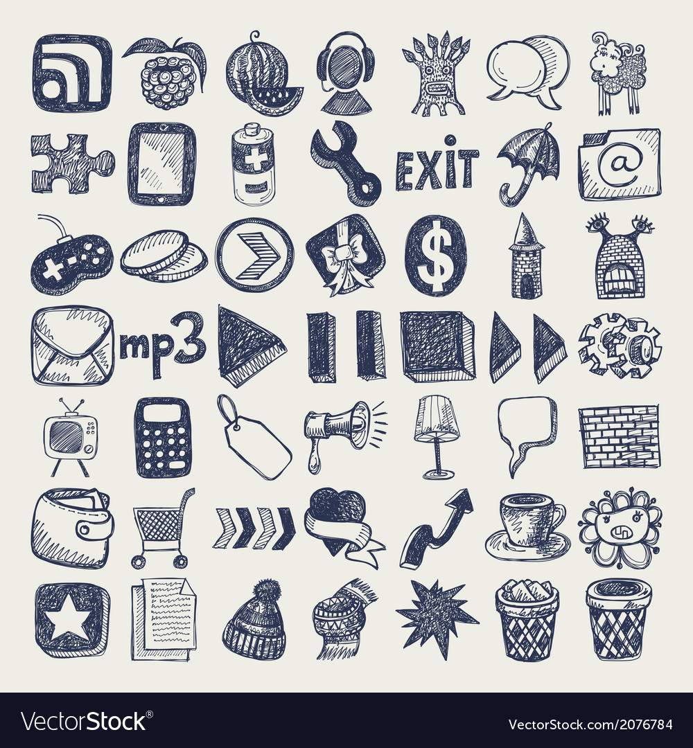 49 hand drawing doodle icon set vector | Price: 1 Credit (USD $1)