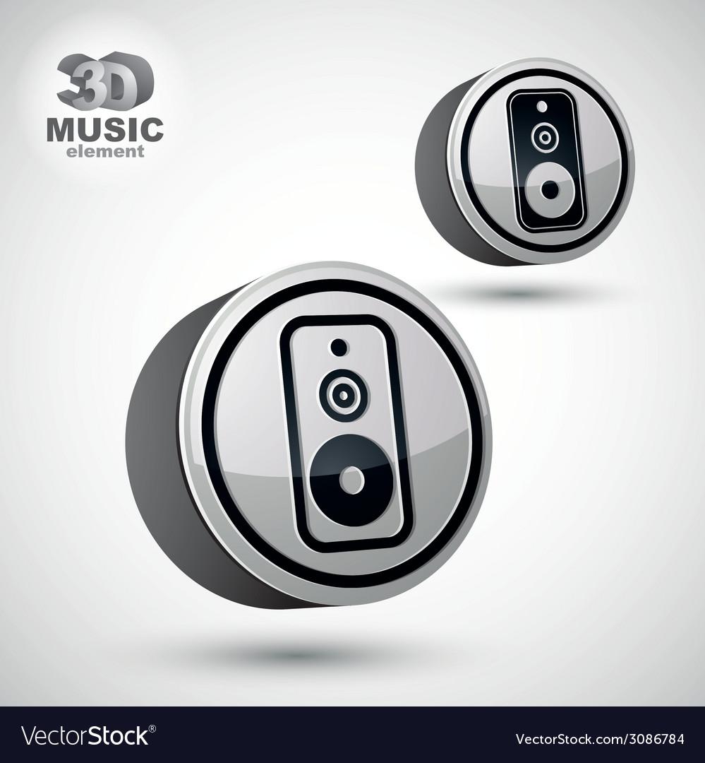 Audio speaker 3d round icon isolated vector | Price: 1 Credit (USD $1)