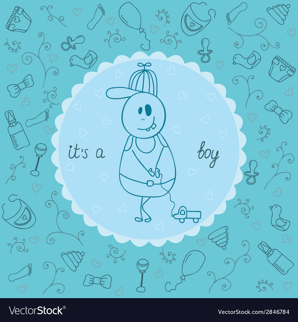 Baby card its a boy theme vector | Price: 1 Credit (USD $1)