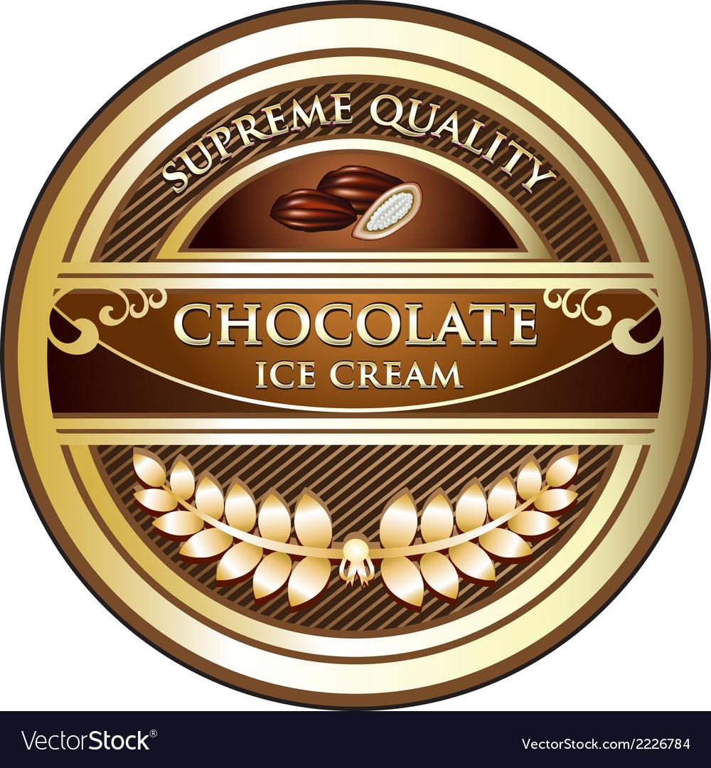 Chocolate ice cream label vector | Price: 1 Credit (USD $1)