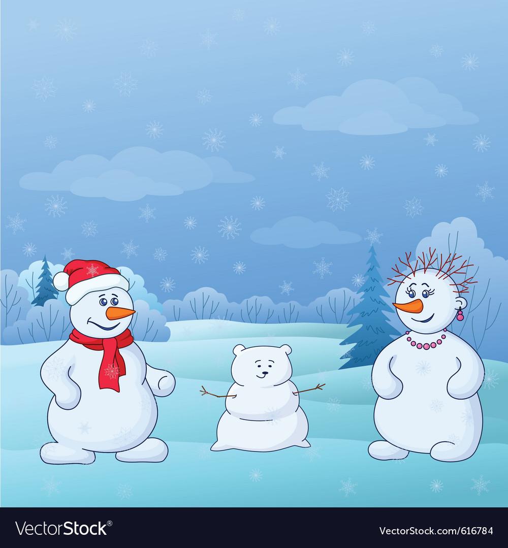Family of snowmen vector | Price: 1 Credit (USD $1)