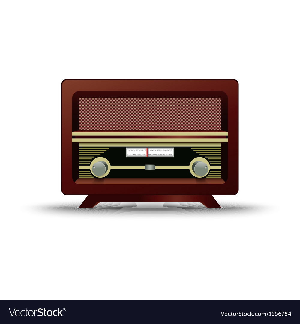 Old wooden retro radio on white background vector | Price: 1 Credit (USD $1)