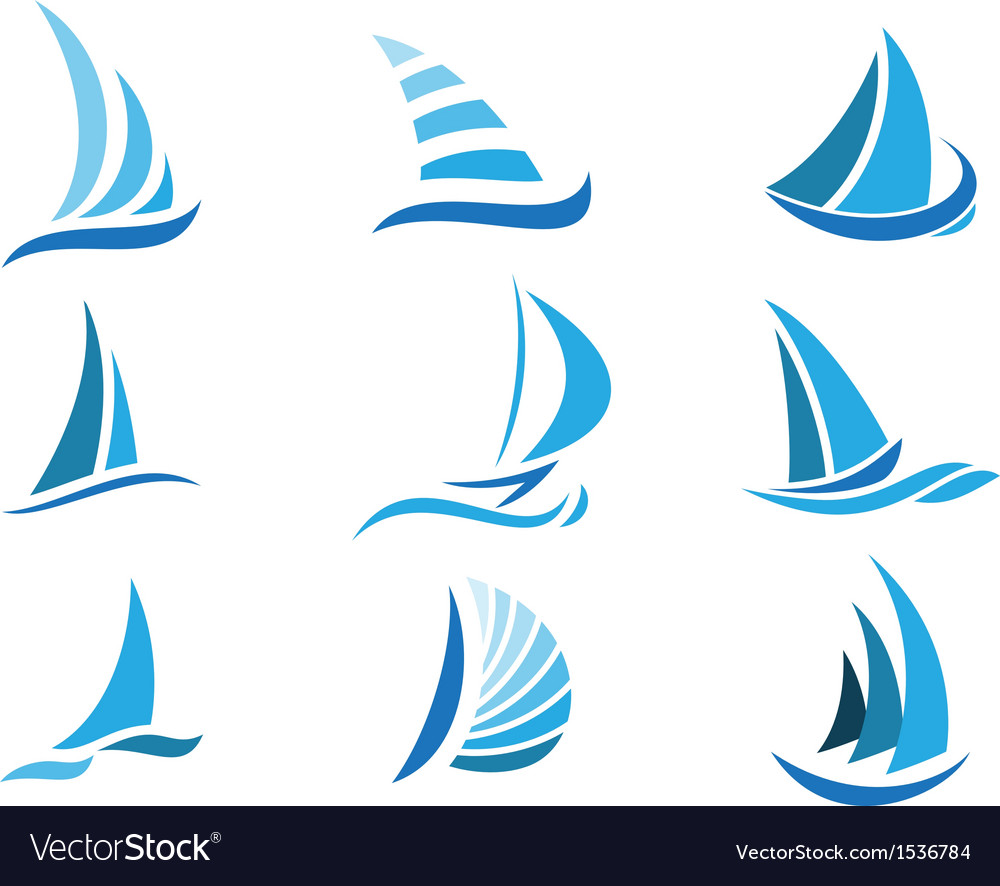 Sailboat symbol set vector | Price: 1 Credit (USD $1)