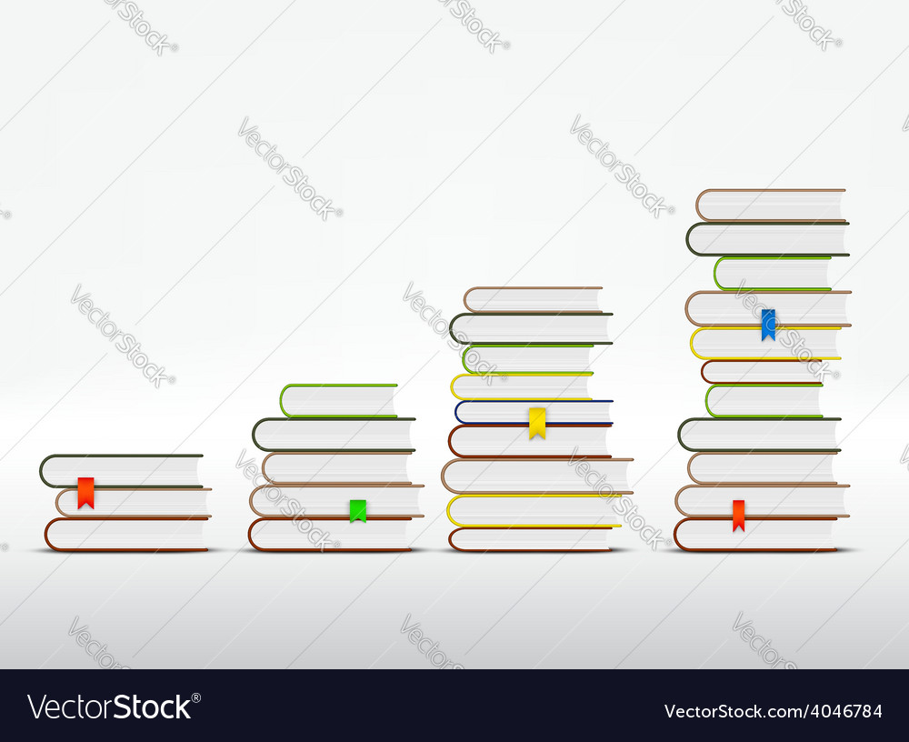 Stacks of books are in the form of a graph vector