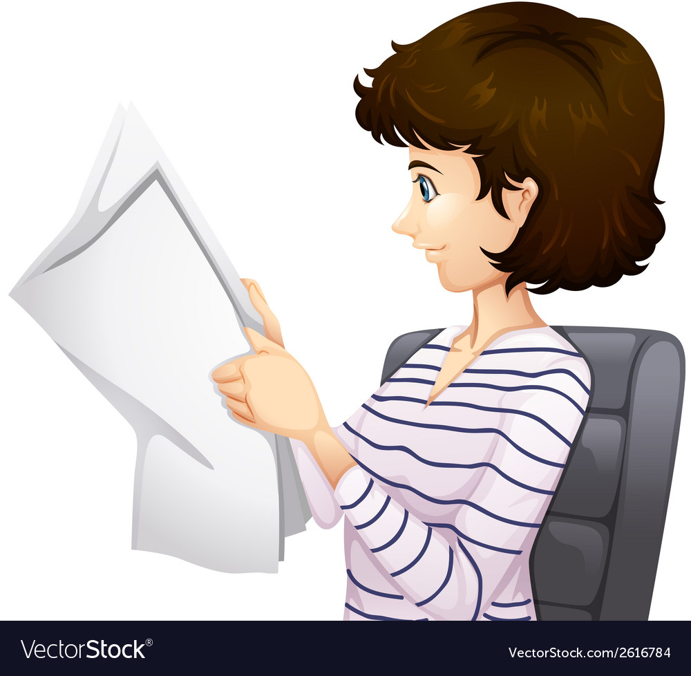 Woman reading paper vector | Price: 1 Credit (USD $1)