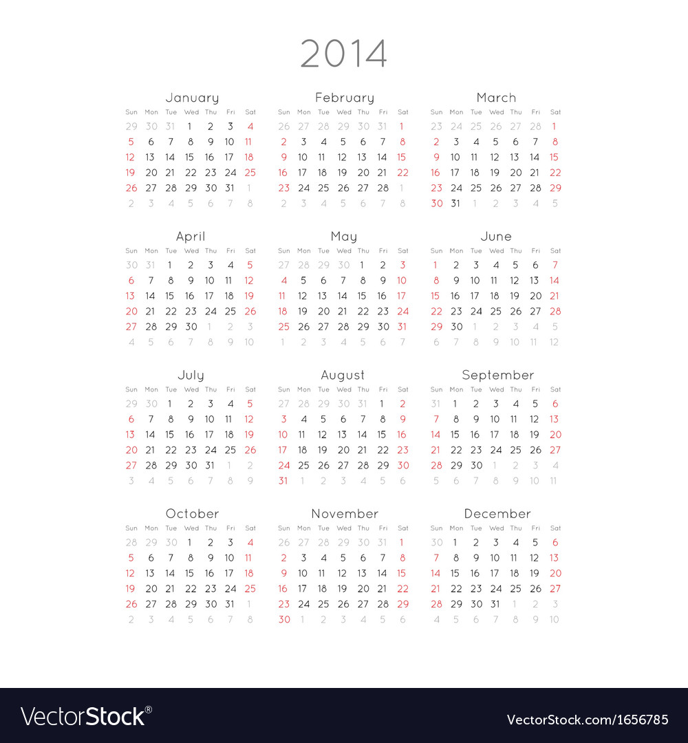 Calendar with trendy thin font 2014 vector | Price: 1 Credit (USD $1)