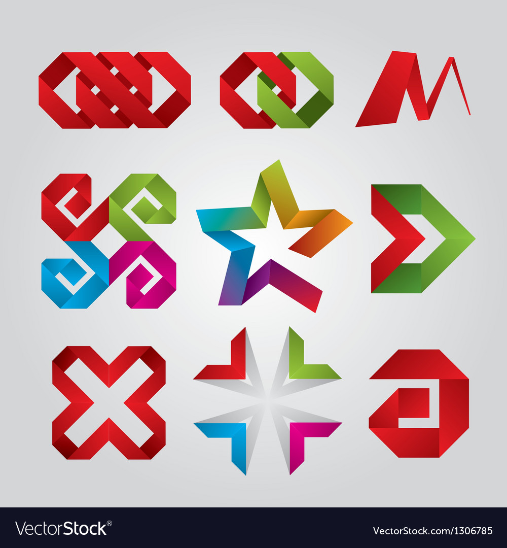 Collection of abstract logos of the tape vector | Price: 1 Credit (USD $1)
