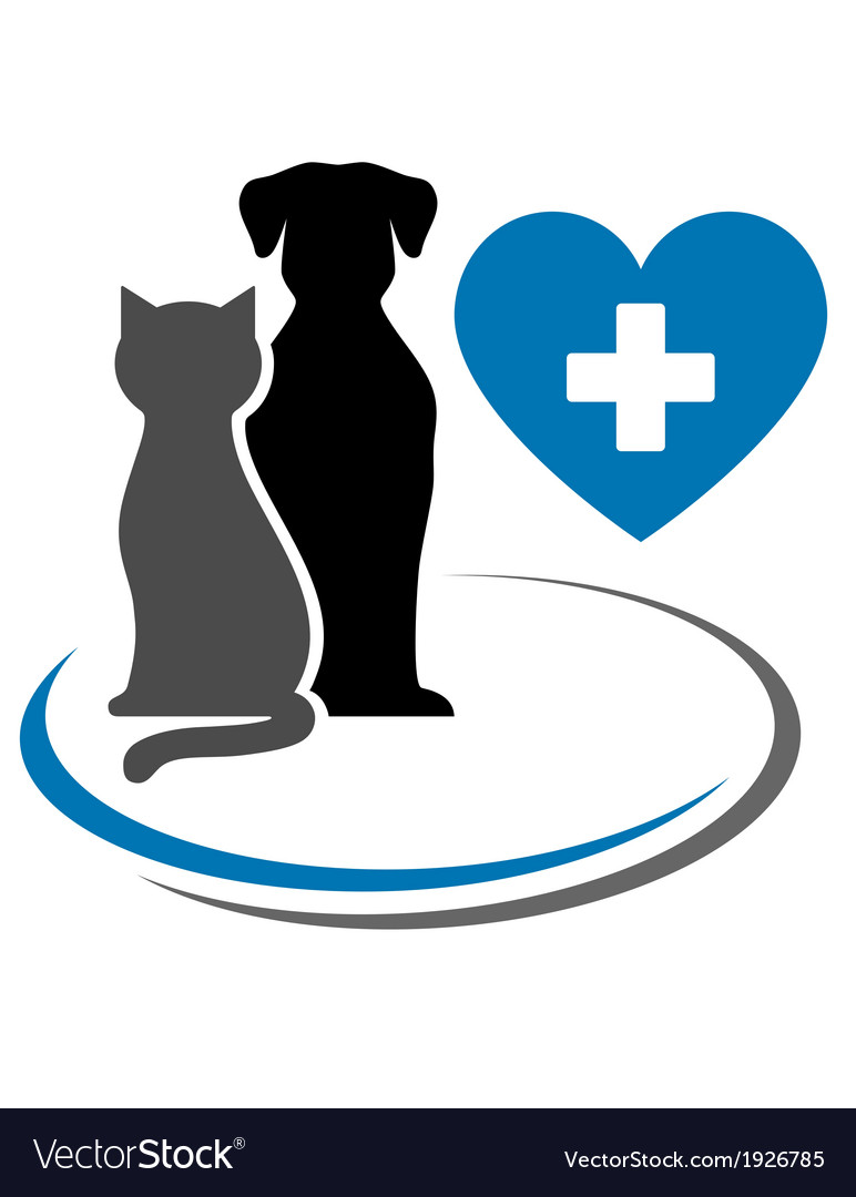 Dog cat and blue heart vector | Price: 1 Credit (USD $1)